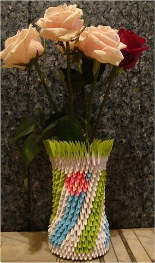 How to make paper craft origami vase decoration step by step DIY tutorial instructions thumb