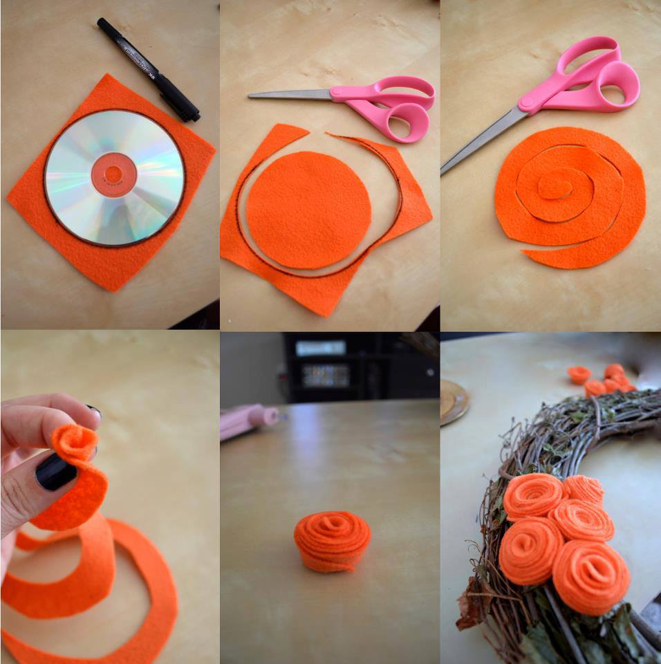 How to make pretty flower wreath step by step diy tutorial for Flower making ideas step by step