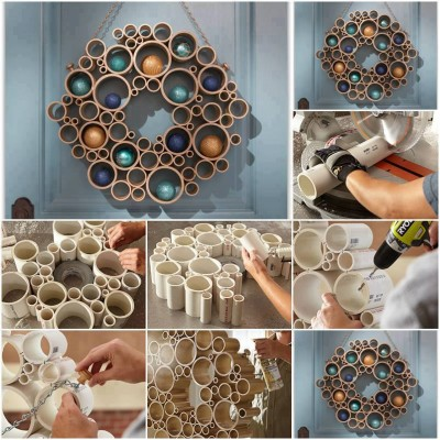 How to make pretty wall tube decor step by step DIY tutorial instructions