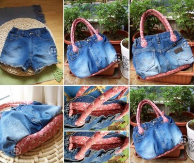 How to make recyled jean purse step by step DIY tutorial instructions