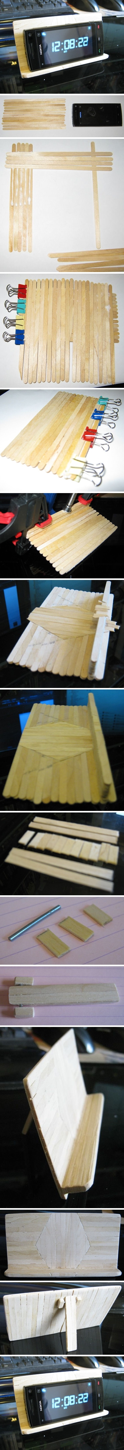 How to make your own cool wooden cell phone stand step by step DIY tutorial instructions
