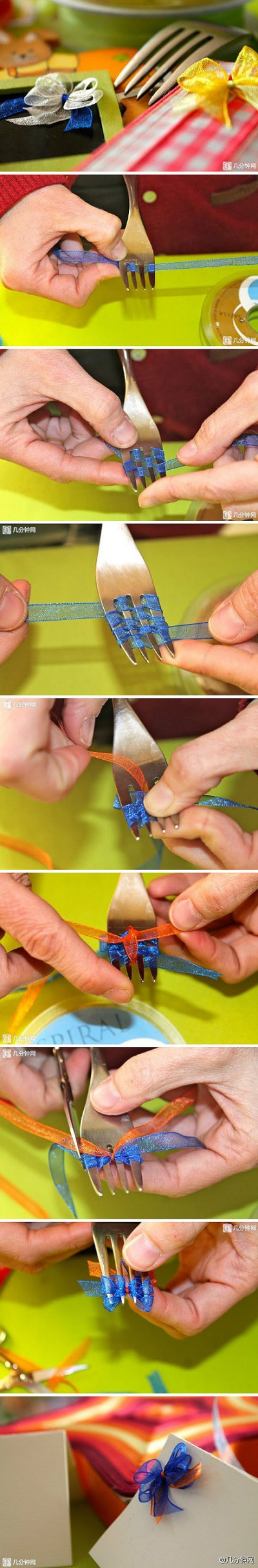 How to tie a beautiful knot using a fork step by step DIY tutorial instructions