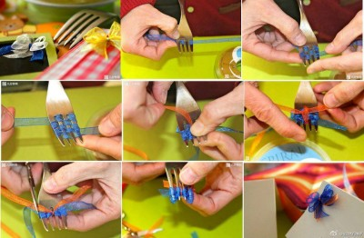 How to tie a beautiful knot using a fork step by step DIY tutorial instructions thumb