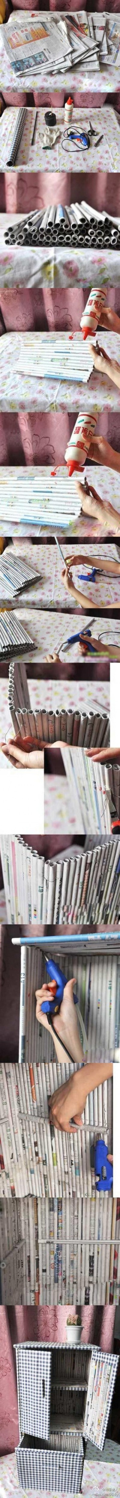 How to use recycled newspaper to make a storage bin step by step DIY tutorial picture instructions