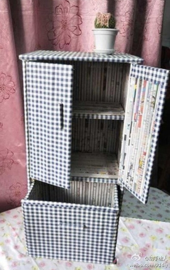 How to use recycled newspaper to make a storage bin step by step DIY tutorial picture instructions thumb