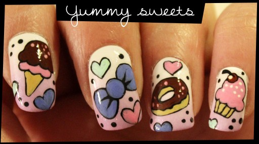 How to do yummy sweets nail arts step by step DIY tutorial instructions