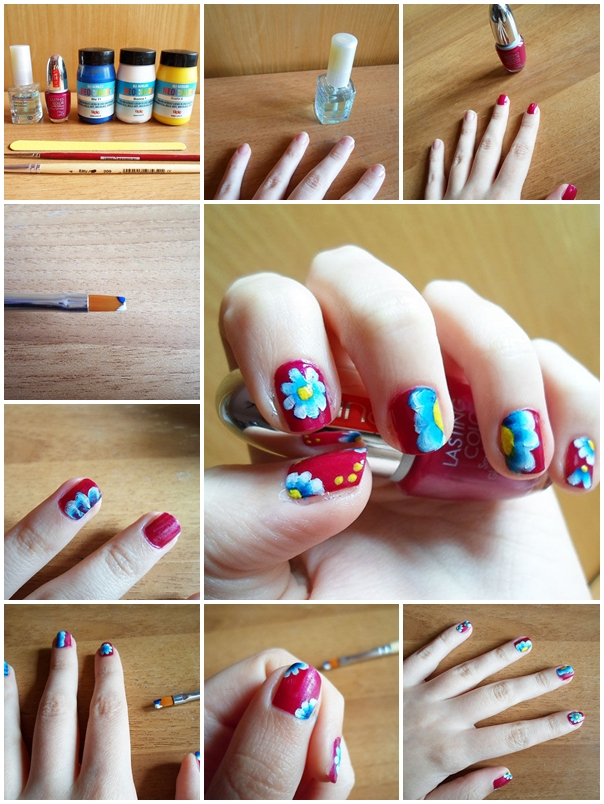 How To Make Spring Floral Nail Art Step By Step Diy Tutorial Instructions Thumb How To