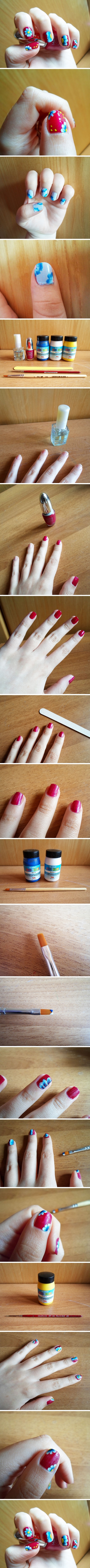 how to make Spring Floral Nail art step by step DIY tutorial instructions