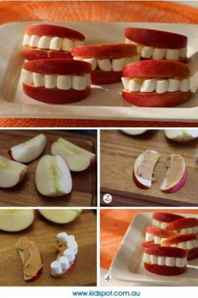 how to make apple peanut butter marshmallow smiley food step by step DIY tutorial instructions