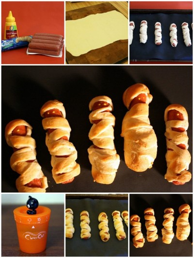 how to make cute Mummy hot dogs step by step DIY tutorial instructions