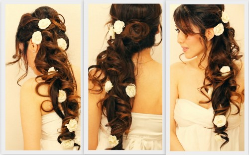 Updo Party Hairstyles : How to make romantic half up updo hairstyle with curls for