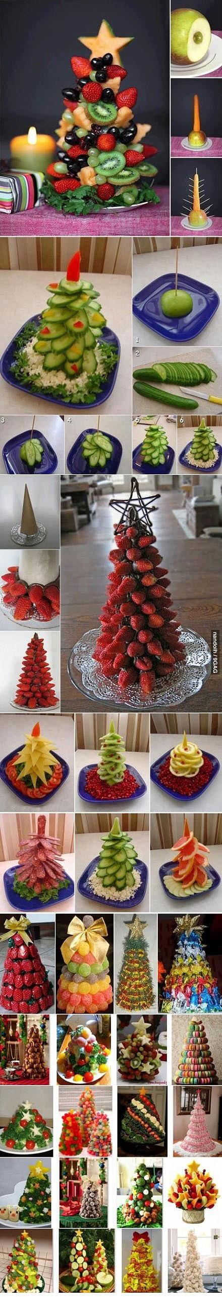 30 ways to make fruit Christmas trees