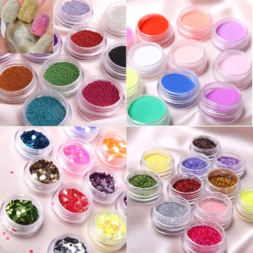 Beautiful Multi-color Party Glitter Powder nail glitter kit to make custom nail art manicures
