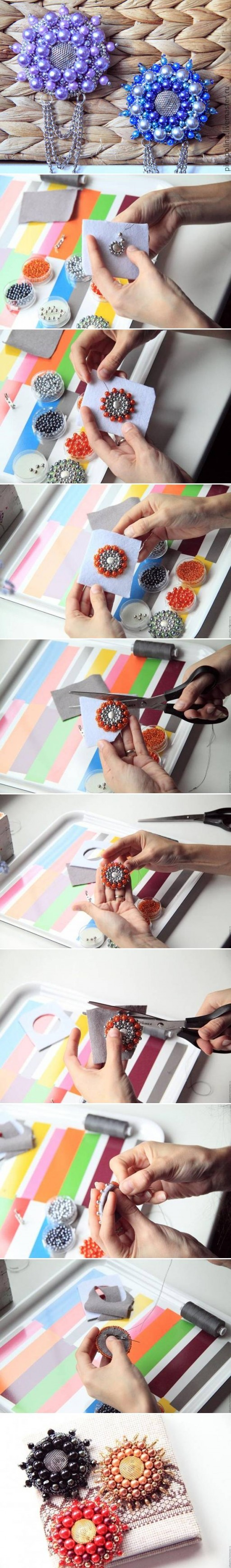 How To Make Beads Flower Brooch step by step DIY tutorial instructions
