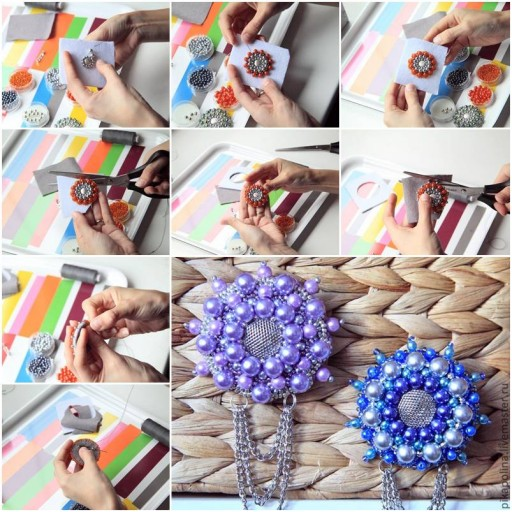 How To Make Beads Flower Brooch step by step DIY tutorial instructions thumb