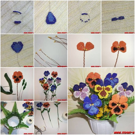 How To Make Beads Pansy Flower step by step DIY tutorial instructions thumb