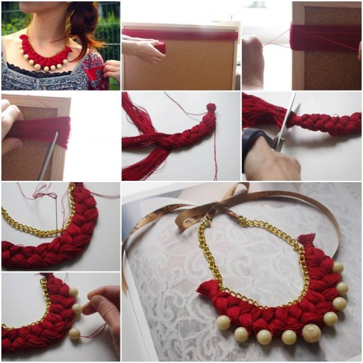 How To Make Braided gold pearl jewelry Necklace step by step DIY tutorial instructions thumb