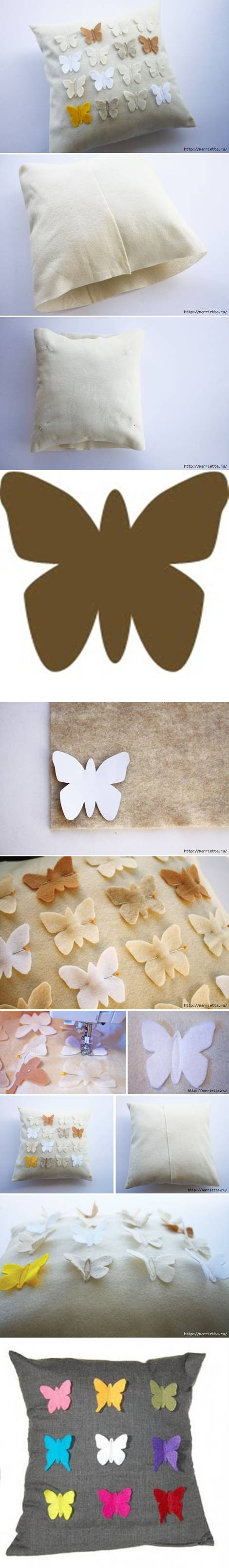 How To Make Butterfly down Pillow Cover step by step DIY tutorial instructions