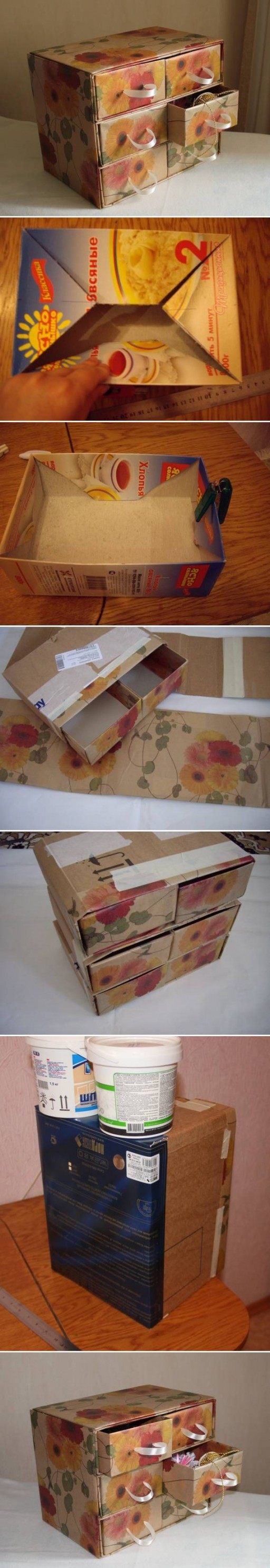 How To Make Cardboard chest with storage container units step by step DIY tutorial instructions