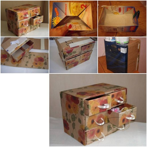 How To Make Cardboard chest with storage container units step by step DIY tutorial instructions thumb