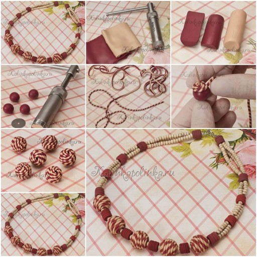 How To Make Clay Beads Collar like jewelry step by step DIY tutorial instructions thumb