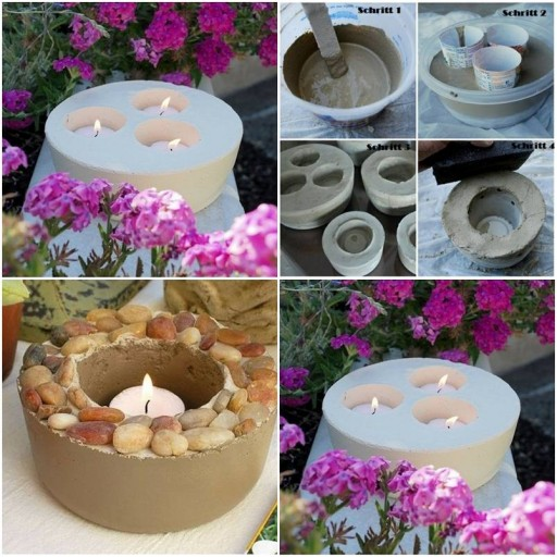 How To Make Concrete standing Candle holders step by step DIY tutorial instructions thumb