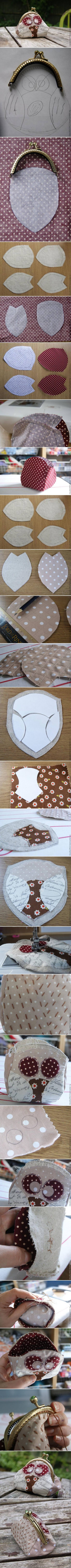 How To Make Cute Fabric Owl Purse step by step DIY tutorial instructions