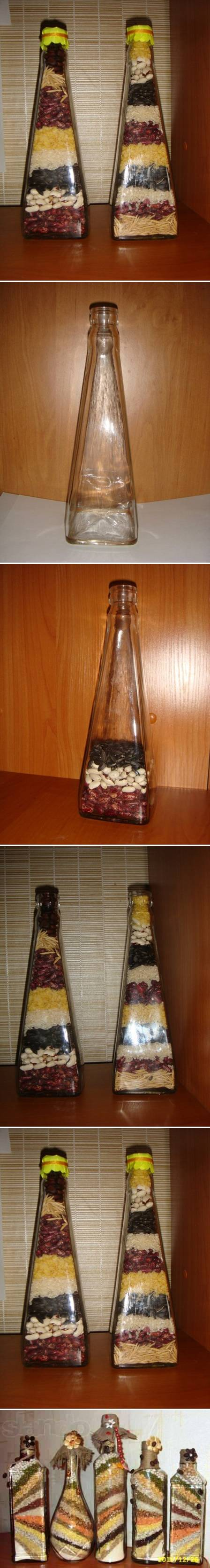How To Make Decorative Bottle with Seeds step by step DIY tutorial instructions