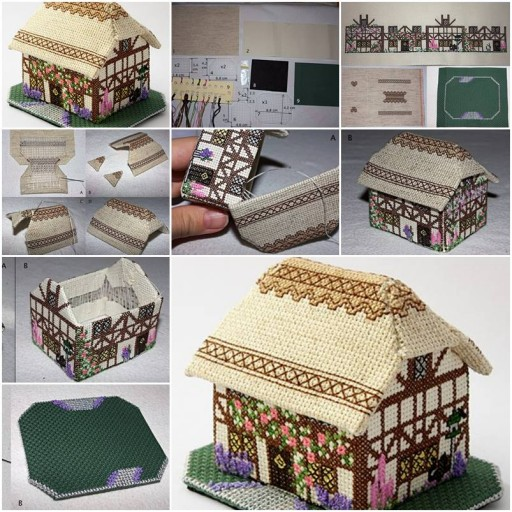 How To Make Decorative Fabric House step by step DIY tutorial instructions thumb