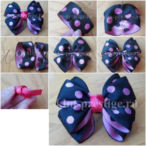 How To Make Easy Double satin ribbon Bow step by step DIY tutorial instructions thumb