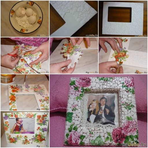 How To Make Eggshell Mosaic Picture Frame of your photo collage step by step DIY tutorial instructions thumb
