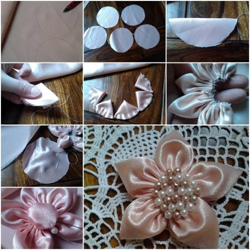 How To Make Fabric Five Petals Flowers step by step DIY tutorial instructions thumb