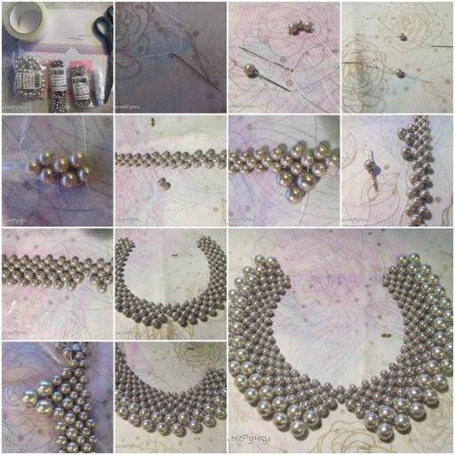 How To Make beautiful Beads or pearl Necklaces step by step DIY tutorial instructions thumb
