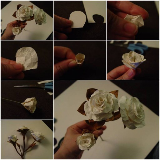 How To Make beautiful White Rose step by step DIY tutorial instructions thumb