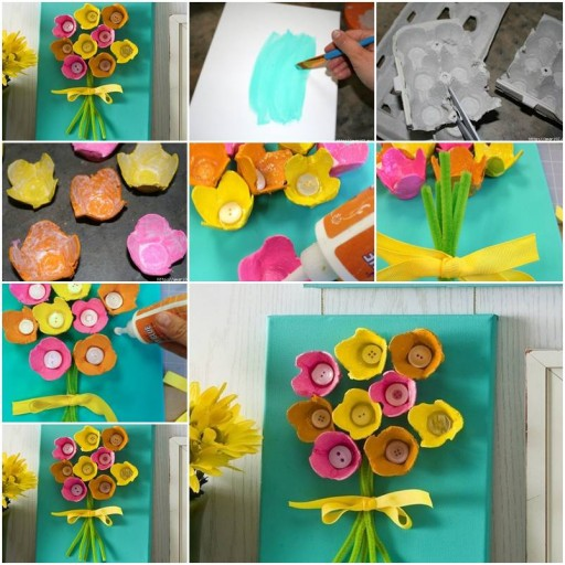How To Make beautiful flowers with Egg Boxes step by step DIY tutorial instructions thumb