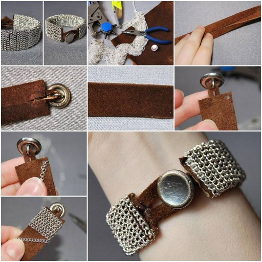 How To Make beautiful silver wrist bands step by step DIY tutorial instructions thumb