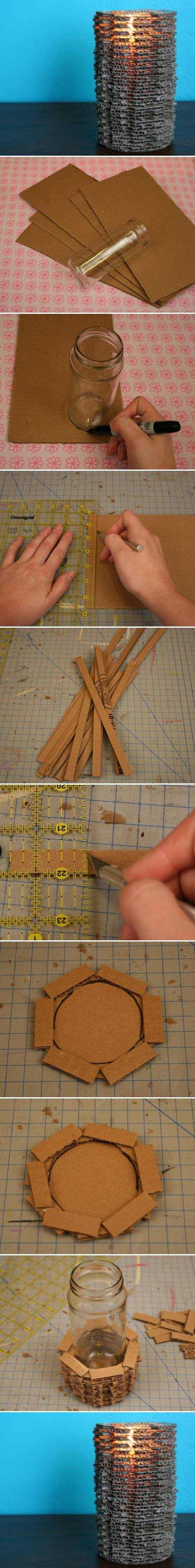 How To Make cool Cardboard Candle Holder step by step DIY tutorial instructions