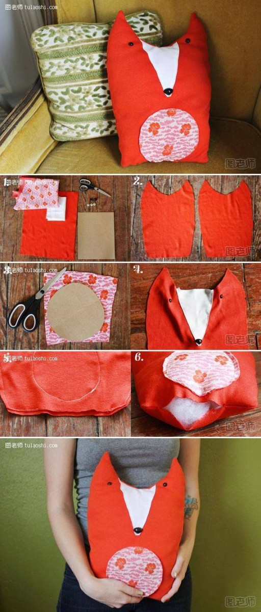 How To Make custom stuffed animals Fabric Fox Toy pillow step by step DIY tutorial instructions