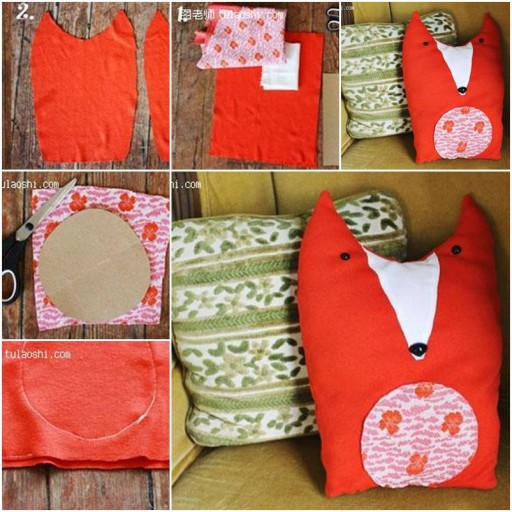 How To Make custom stuffed animals Fabric Fox Toy pillow step by step DIY tutorial instructions thumb