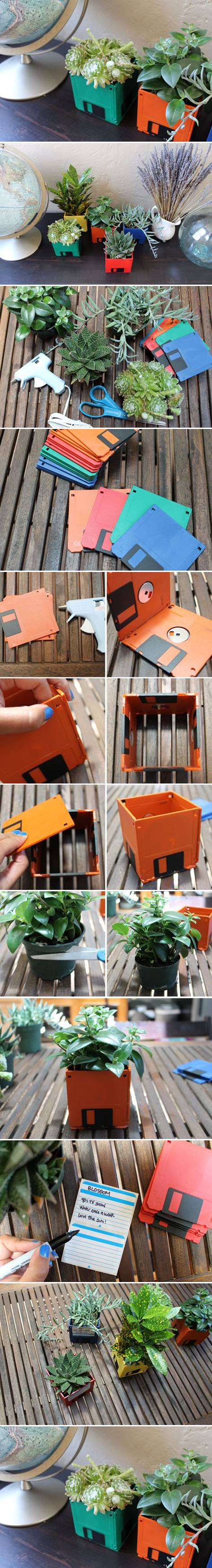 How To Make cute floppy Diskette flower pots step by step DIY tutorial instructions