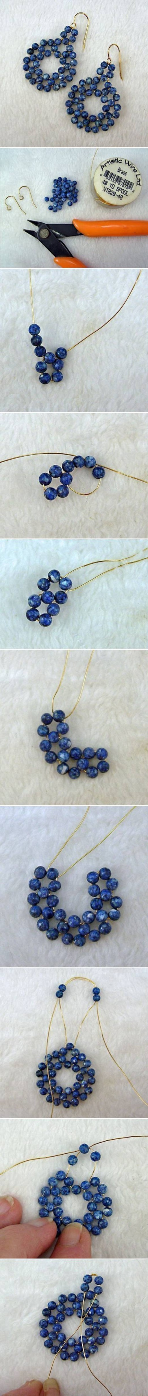 How To Make gold wire Beads or pearl jewelry Earrings step by step DIY tutorial instructions