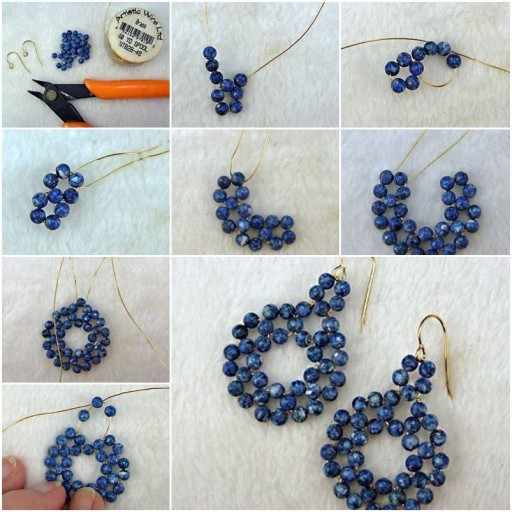 How To Make gold wire Beads or pearl jewelry Earrings step by step DIY tutorial instructions thumb