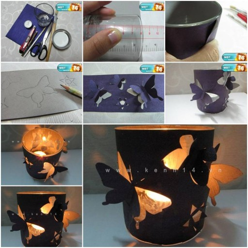 How to make homemade romantic butterfly candle holders for How to make easy crafts step by step