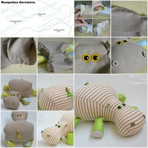 How To Make lovely Fabric stuffed hippo animal baby Toy step by step DIY tutorial instructions thumb