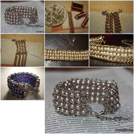 How To Make pretty jewelry like Beads and Chains wrist band Bracelet step by step DIY tutorial instructions thumb