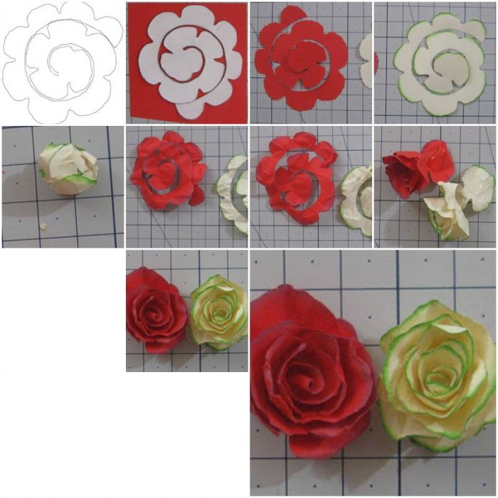 how to make simple paper roses flowers step by step diy