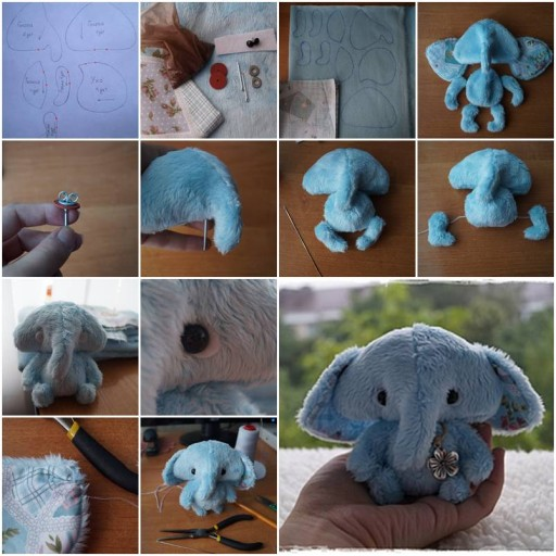 How To Make tulle Fabric Little pygmy Elephant step by step DIY tutorial instructions thumb