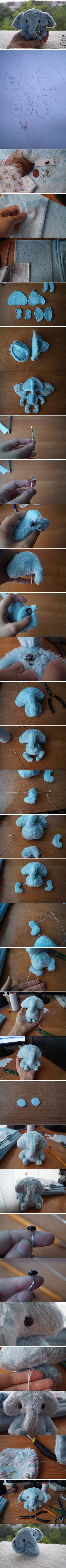 How To Make tulle Fabric Little pygmy Elephant step by step DIY tutorial instructions