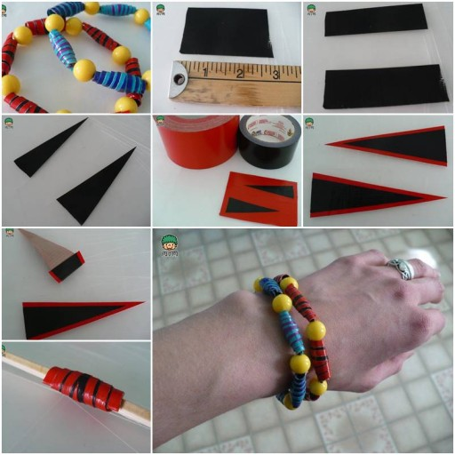 How To make cool wristbands with Tape and beads or pearls step by step DIY tutorial instructions thumb