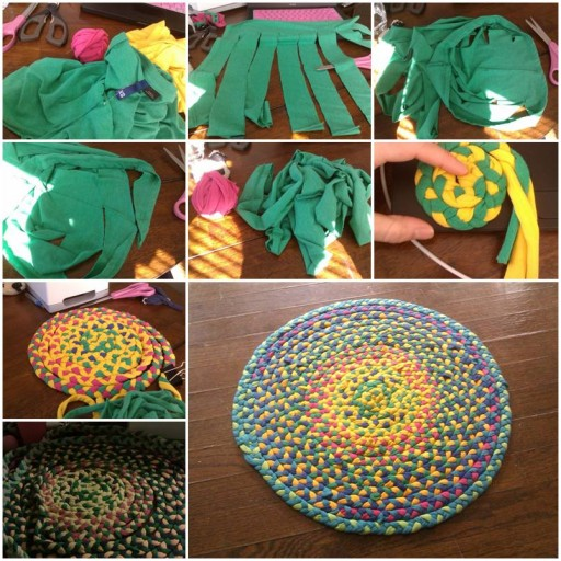 How to Braid floor mat of used T-shirt step by step DIY tutorial instructions thumb